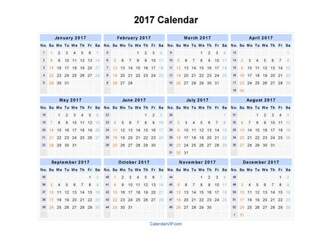 Excel Yearly Calendar Template 2017