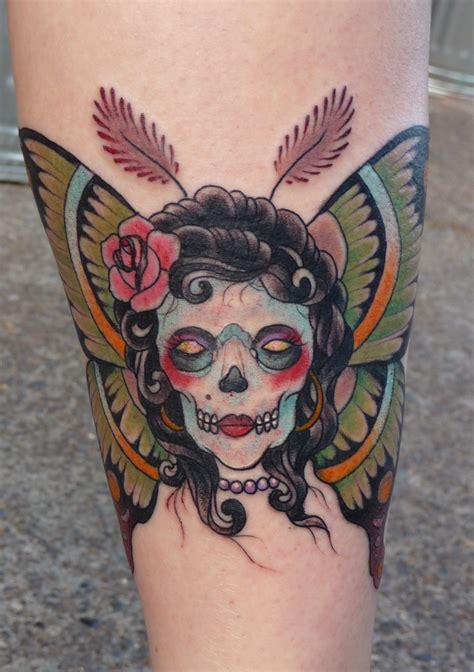 skull girl tattoo moth images designs