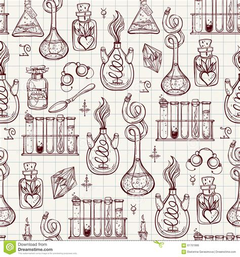 pattern lab less seamless pattern of alchemy vintage lab symbols stock