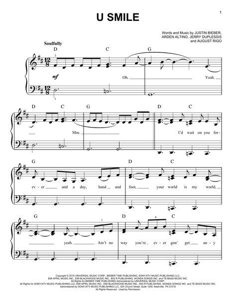 justin bieber u smile lyrics song u smile sheet music by justin bieber easy piano 80520