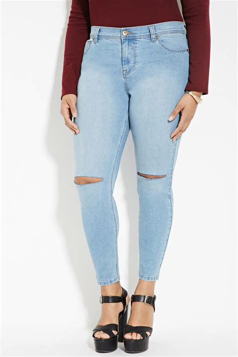 Denim Ripped Shorts 27 28 12363 lyst forever 21 plus size ripped in blue