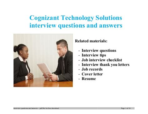 cognizant technology solutions questions and answers