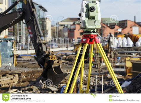 layout building using total station geodesy total station and construction stock image image