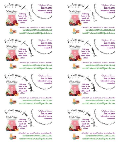scentsy pyo business cards template my scentsy labels tags sle labels using avery t