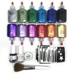glitter tattoo kit hobbycraft ybody pro kit metallic glitter poof bottles 100 stencil set
