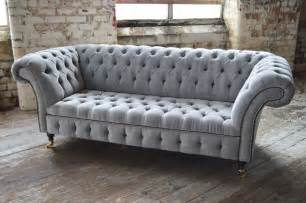 Black Fabric Chesterfield Sofa Modern Handmade Silver Velvet Fabric Chesterfield Sofa Chair Black Details Ebay