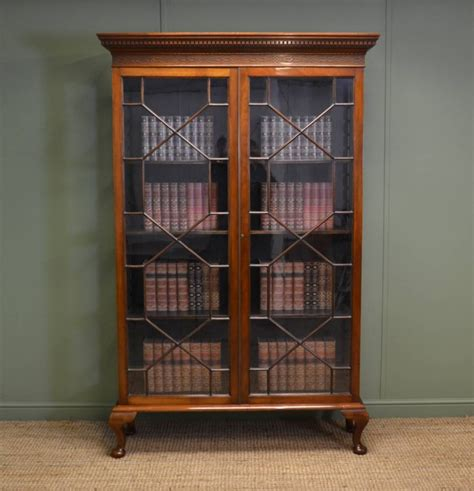Tall Victorian Walnut Antique Glazed Bookcase 268403 Vintage Bookshelves For Sale