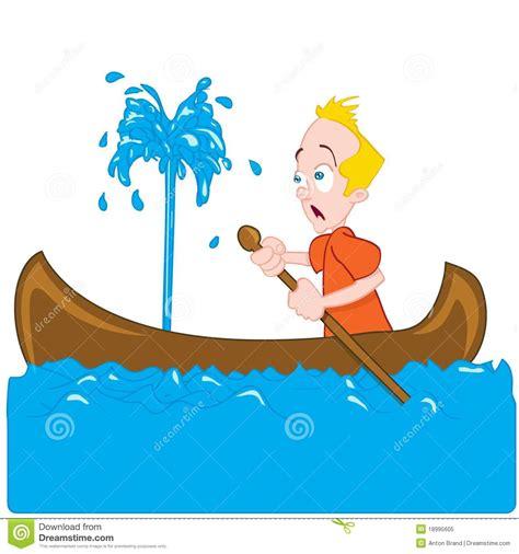barco hundiendose animado cartoon of a man in a sinking canoe stock vector image