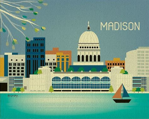 Home Decor Wi by Wisconsin Skyline Gift Poster Print For
