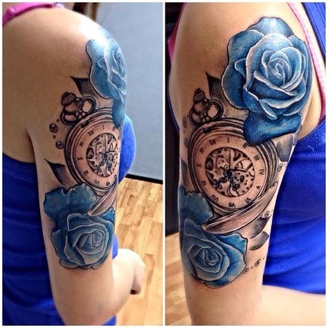 rose and pocket watch tattoo 1st pocket with blue roses and pearl