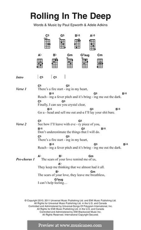 Printable Lyrics Rolling In The Deep | rolling in the deep by adele p epworth sheet music on