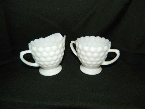 milk glass and sugar set hobnail