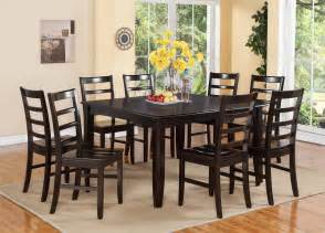 Square Dining Room Table With 8 Chairs 9 Pc Square Dinette Dining Room Table Set And 8 Wood Seat Chairs In Cappuccino Ebay