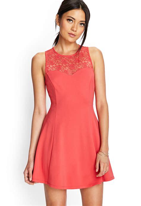 Forever21 Orange Dress forever 21 floral lace skater dress in orange lyst