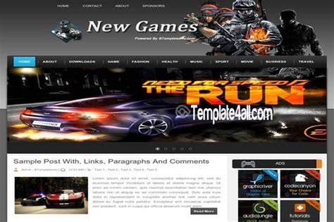 abstract news games blogger template download