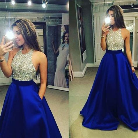 sparkling crystal beaded halter top tulle prom dress