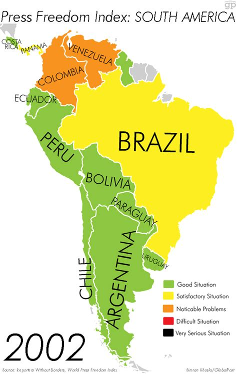 show me a map of south america these maps show the best and worst countries for