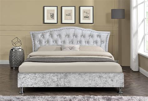 Beds With Diamante Headboard by Designer Diamante Headboard Bed Fabric Or Faux Leather King Size Quality Ebay