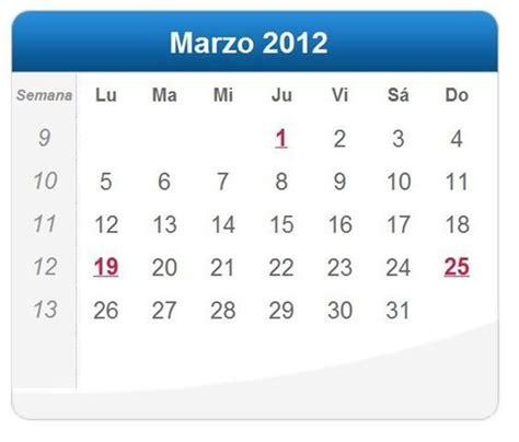 Calendario Marzo 2012 Calendario Marzo 2012 Definanzas