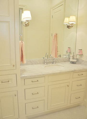 pink and cream bathroom little girl s bathroom cream cabinets marble top soft