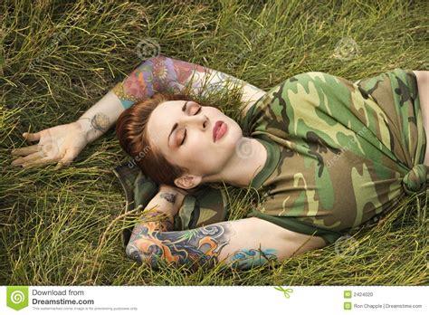 tattoo camo stockists tattooed woman in camouflage stock photo image 2424020