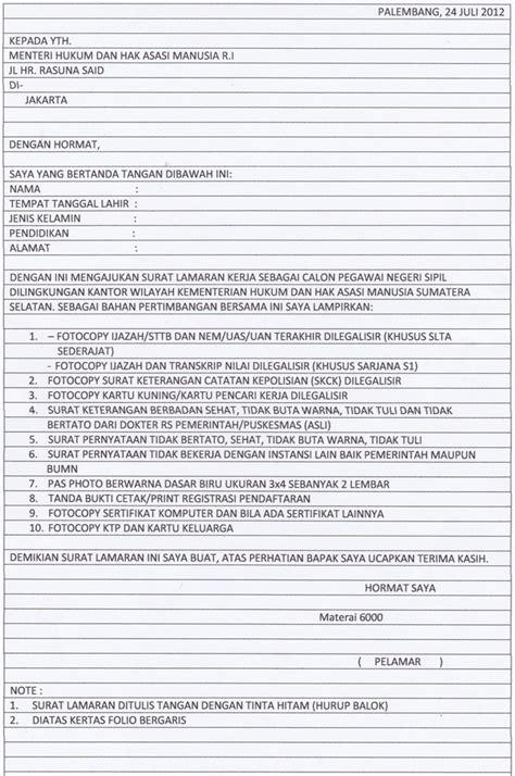 Cara Tulis Lop Lamaran by Contoh Lamaran Cpns Kemenkes Contoh Surat Lamaran