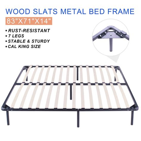 California King Size Bed Frame Dimensions California King Size Wood Slats Metal Bed Frame Furniture Wooden Beds Frame Ebay