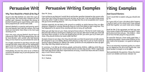 persuasive writing examples year english primary