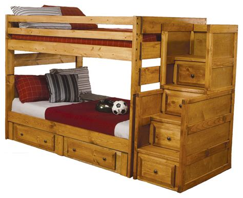 Solid Oak Bunk Beds by Wash Oak Solid Wood Bunk Bed Storage