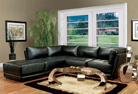 black leather sofa in living room furnishing a dark living room decorating with crystal