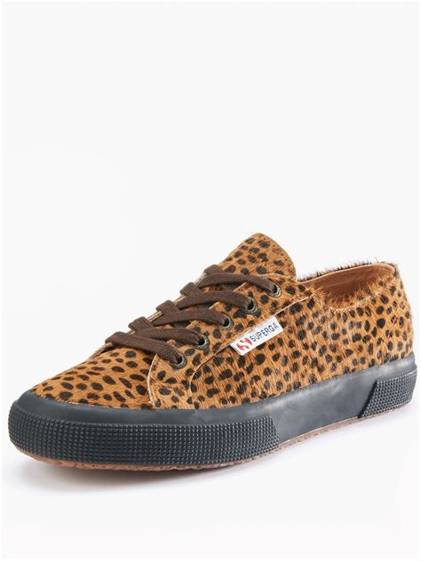 superga superga printed leather canvas shoes in animal