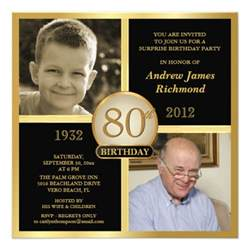 80th birthday invitations then now 2 photos zazzle