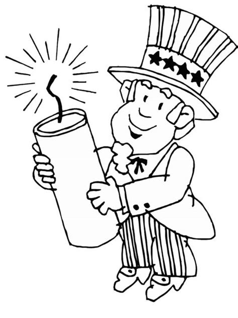 uncle sam wants you coloring page uncle sam holding firecracker for independence day event
