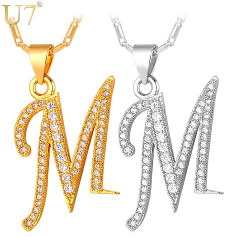 Name Letter M aliexpress buy u7 capital initial m letter necklace