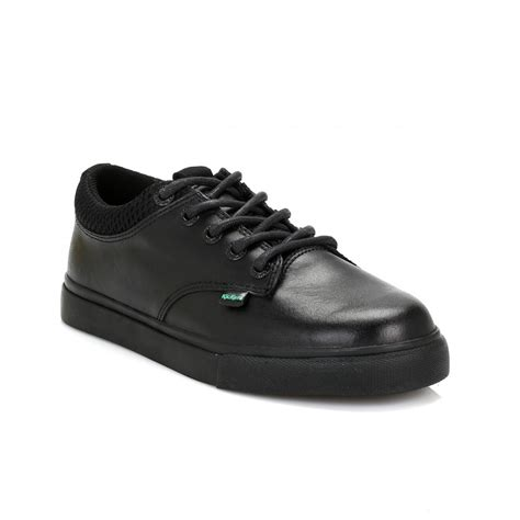 Kicker Leather kickers youth black tovni leather shoes