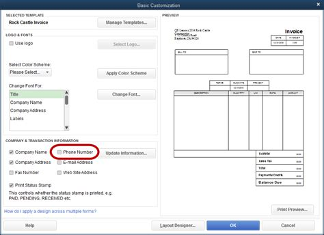 how to change invoice template in quickbooks adding the company phone number to an invoice template