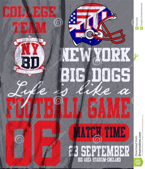 Custom Graphic Tshirt Time Maurice american football vintage vector print for boy sportswear in custom colors stock vector