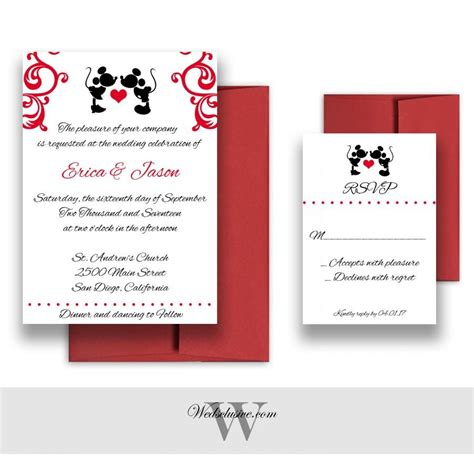 Mickey And Minnie Wedding Invitation