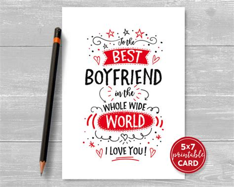 printable birthday cards for a boyfriend printable card for boyfriend valentines or by