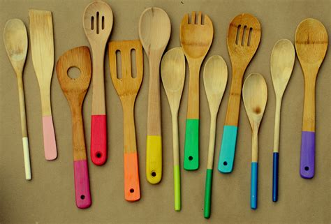 cool utensils rainbow painted wooden spoons