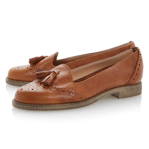 loafer shoes dune lazarus mixed material tassel loafer shoes in brown