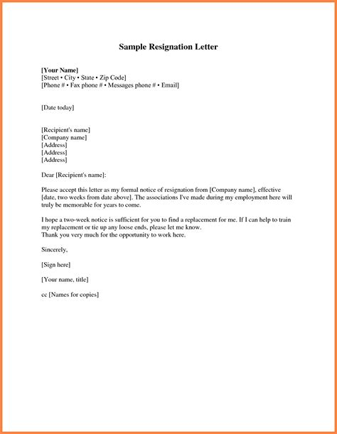 9 Resignation Letter 2 Week Notice Pdf Notice Letter Two Week Notice Template Pdf
