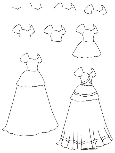 Drawing Princess Dress How To Draw A Princess Dress Step By Step Printable
