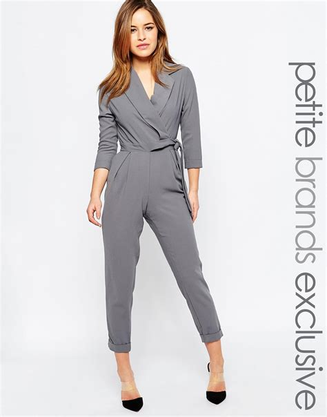 Sale Jumpsuit With Belt alter tailored jumpsuit with wrap and tie belt detail in gray darkgrey save 30 lyst