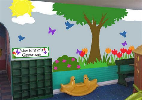 Cute Classroom With Kids School Landscape Murals Painting How To Decorate Nursery Classroom