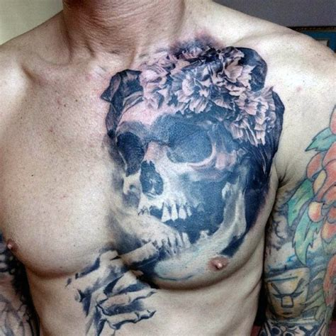 unique tattoo on chest 50 skull chest tattoo designs for men haunting ink ideas
