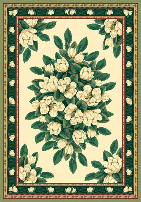 ivory cream green magnolia floral carpet traditional