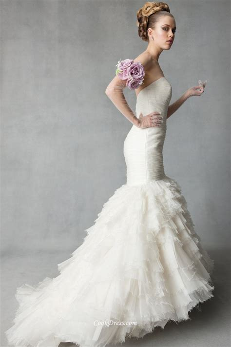 strapless sweetheart organza ruffled trumpet simple
