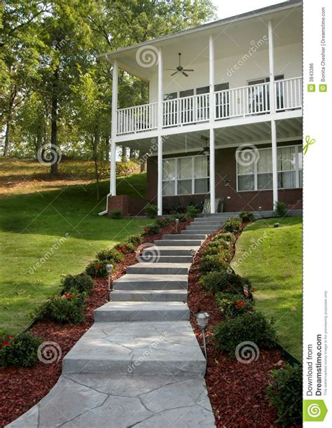 country living with security lit steps royalty free stock