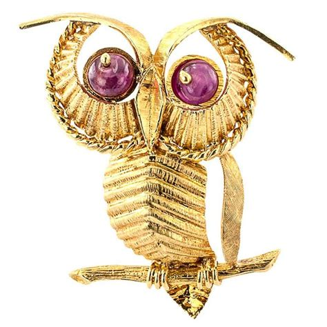 Owl Gold 1970s zolotas ruby gold owl brooch for sale at 1stdibs